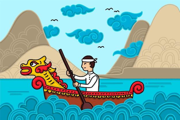手描きスタイルのドラゴンボートの背景 無料ベクター