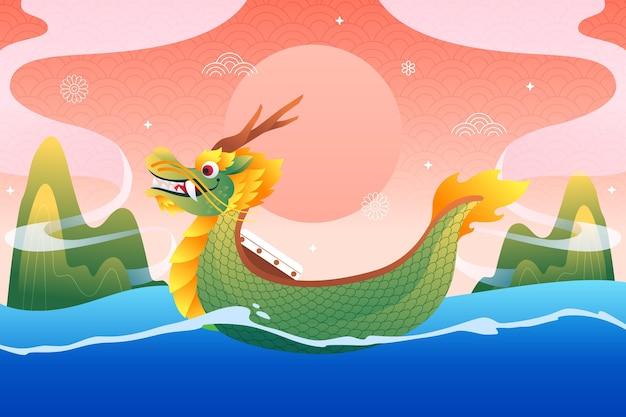 Плоский дизайн фона лодка дракона Бесплатные векторы