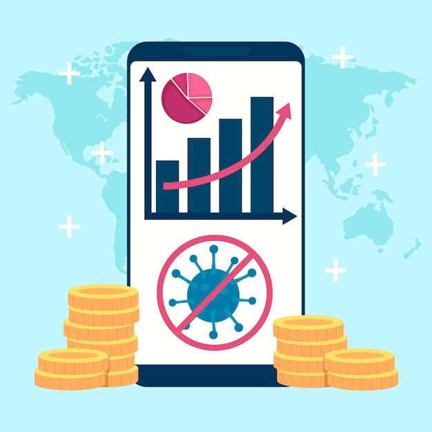 Коронавирусный график увеличения финансового восстановления Бесплатные векторы