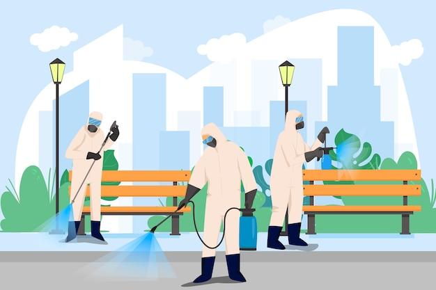 Рабочие в хазматическом костюме убирают улицы Бесплатные векторы