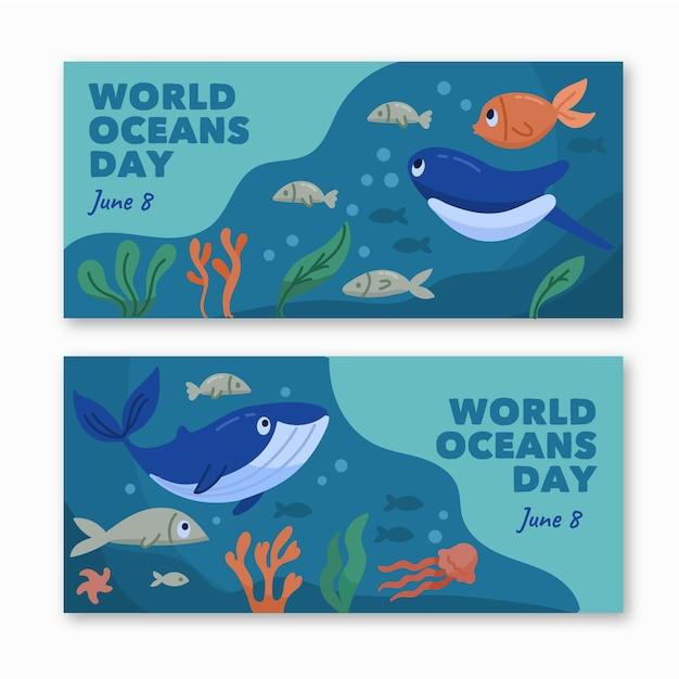 Баннеры всемирного дня океанов нарисованы Бесплатные векторы
