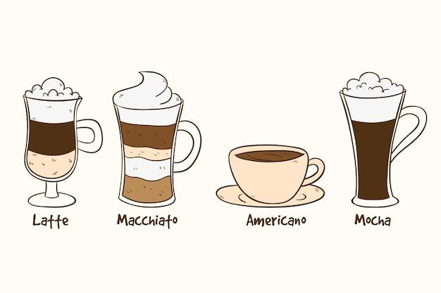 Дизайн коллекции видов кофе Бесплатные векторы