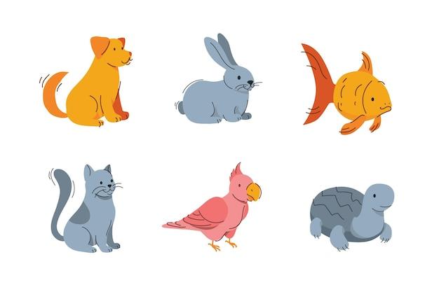 Концепция милых разных домашних животных Бесплатные векторы