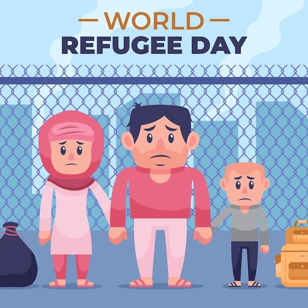 通りに住む難民家族 無料ベクター