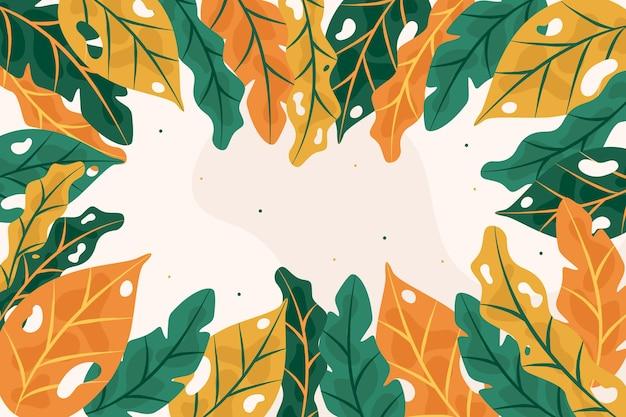 抽象的な熱帯の葉の背景 無料ベクター
