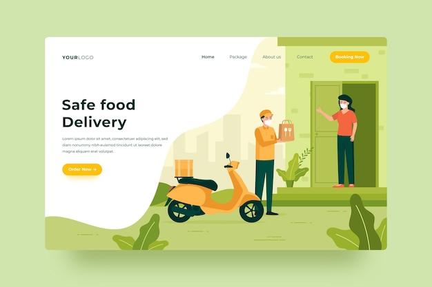 安全な食品配達-ランディングページ 無料ベクター