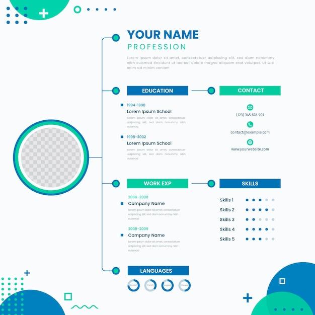 Онлайн профессиональный шаблон резюме Бесплатные векторы