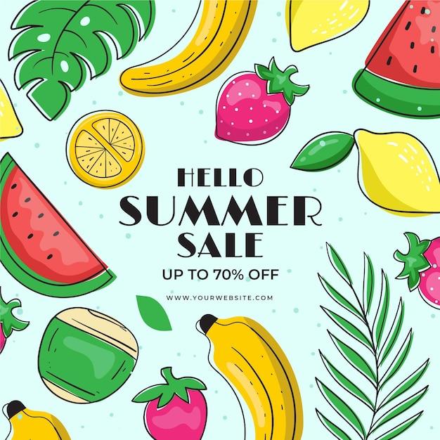 Летняя распродажа с фруктами Бесплатные векторы