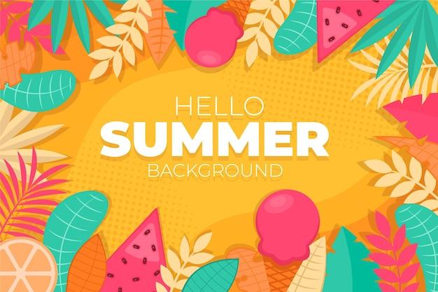 Красочный летний фон концепция Бесплатные векторы