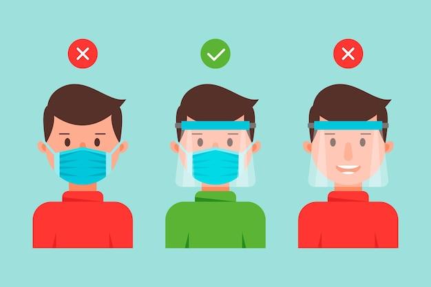 Люди, использующие защитную маску и коллекцию масок Бесплатные векторы