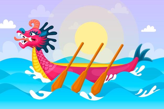 太陽と海のドラゴンボートの壁紙 無料ベクター