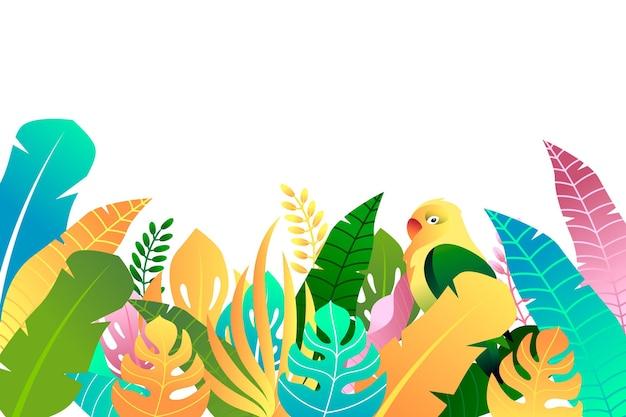 葉と鳥のカラフルな夏の背景 無料ベクター