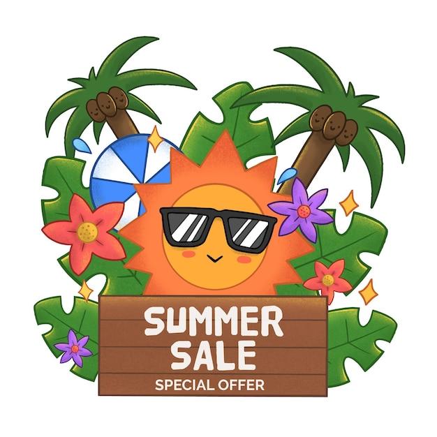 Летняя распродажа с солнцем и пальмами Бесплатные векторы