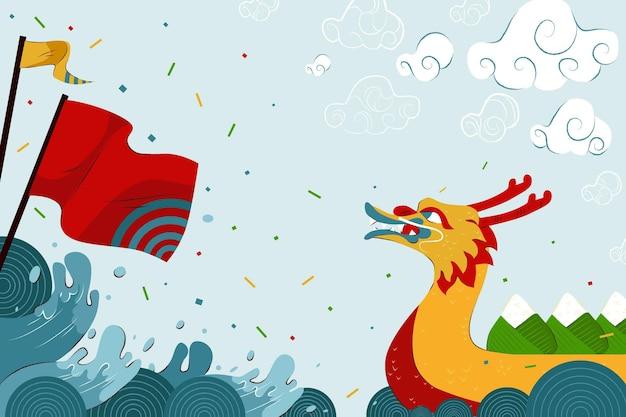 Обои лодка дракона с флагом Бесплатные векторы