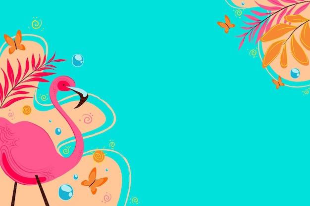 Летний фон с фламинго и водой Бесплатные векторы