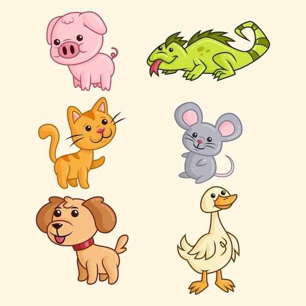 Коллекция разных животных Бесплатные векторы