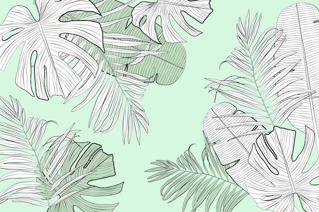 Линейные тропические листья в пастельных тонах Бесплатные векторы