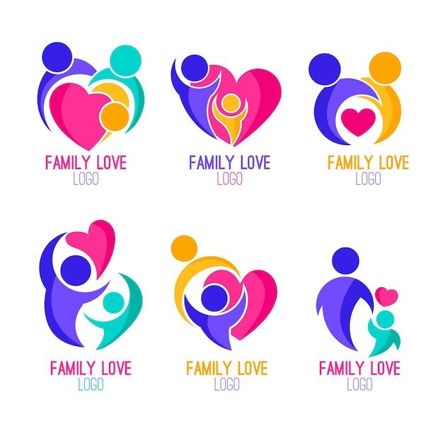 Семейная коллекция логотипов Бесплатные векторы