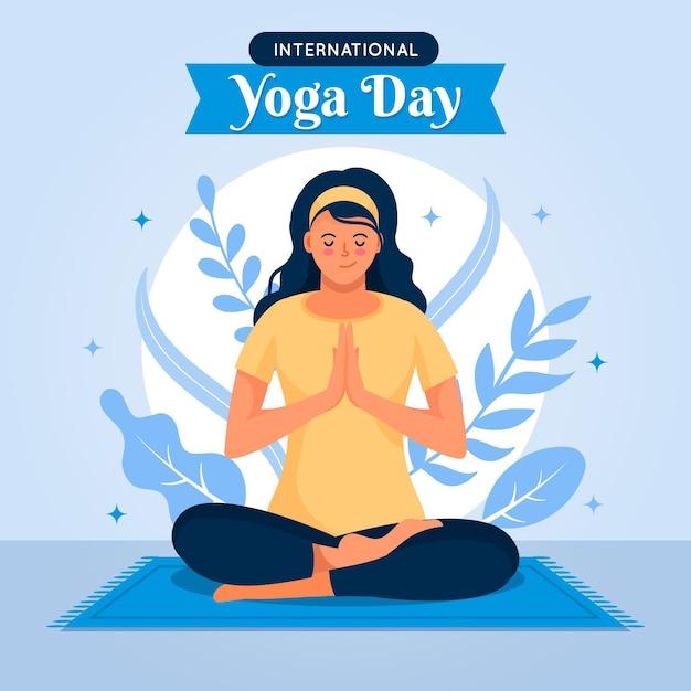 Международный день концепции иллюстрации йоги Бесплатные векторы