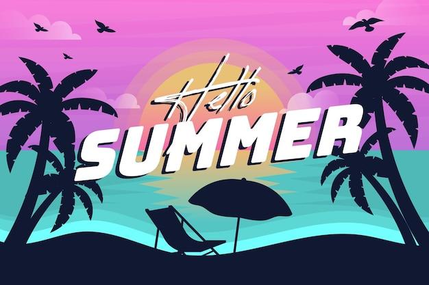 Летний фон с силуэтами пляжа и пальм Бесплатные векторы