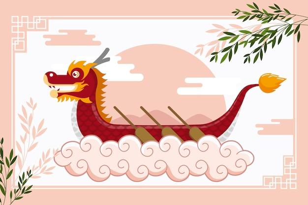 Фон с лодкой-драконом Бесплатные векторы