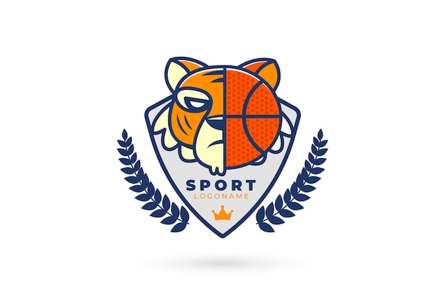 タイガーとバスケットボールのスポーツロゴ 無料ベクター