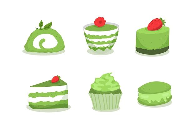 Матча десертный набор Бесплатные векторы