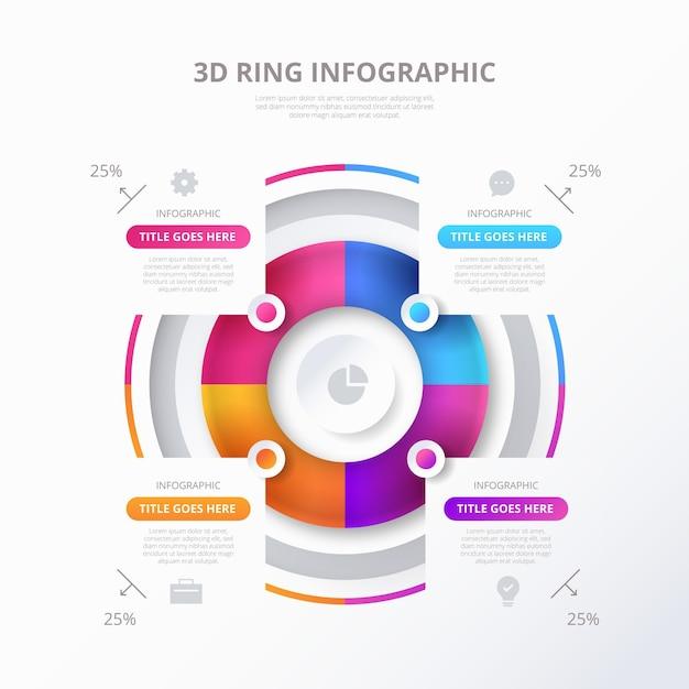 Трехмерное кольцо инфографики шаблон Бесплатные векторы