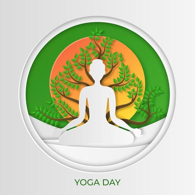 Международный день йоги в бумажном стиле Бесплатные векторы