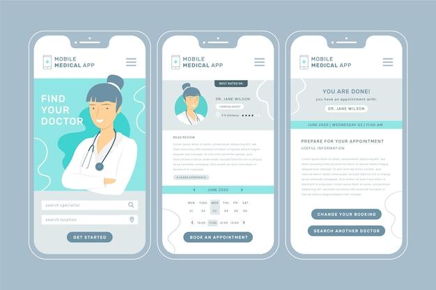 スマートフォンインターフェースを備えた医療予約アプリ 無料ベクター