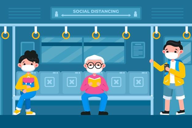 公共交通機関における社会的距離 無料ベクター
