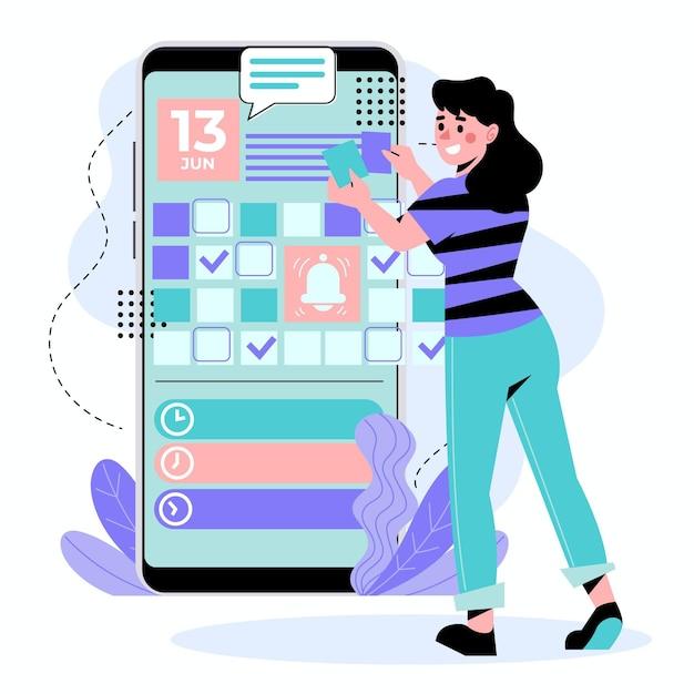 Женщина, записавшись на прием на смартфоне Бесплатные векторы