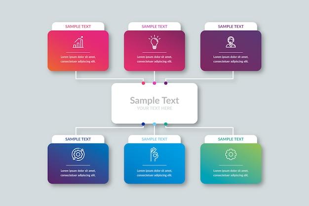 グラデーションプロセスインフォグラフィック 無料ベクター