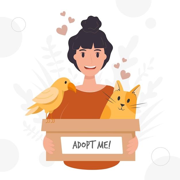 Усыновить питомца с женщиной и животными Бесплатные векторы