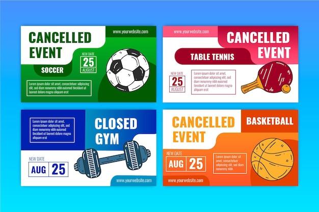 キャンセルされたスポーツイベントのコレクション-バナー 無料ベクター