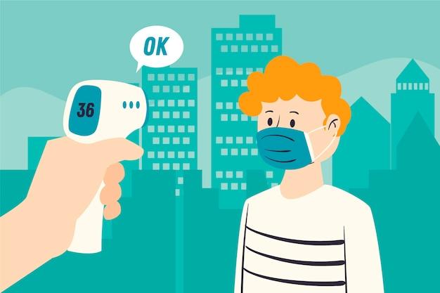Проверка температуры тела в общественных местах Бесплатные векторы