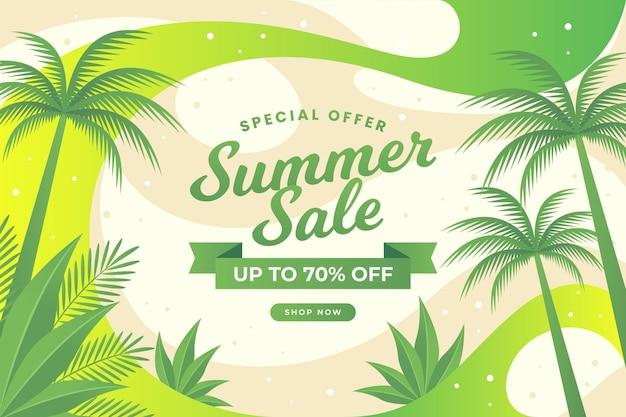 Летняя распродажа абстрактного дизайна и тропических деревьев Бесплатные векторы