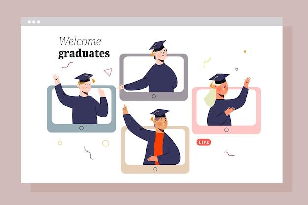 仮想卒業式のコンセプト 無料ベクター