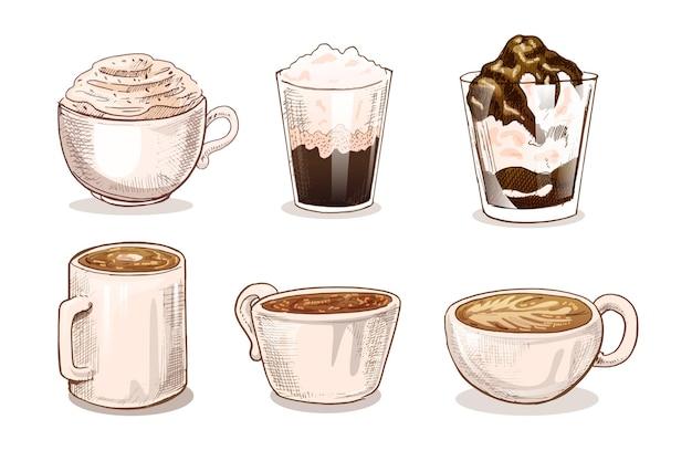 Концепция иллюстрации типов кофе Бесплатные векторы