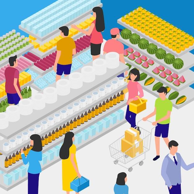 等尺性スーパーマーケットのコンセプト 無料ベクター