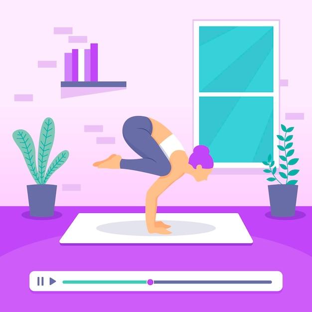 Плоский дизайн онлайн класс йоги Бесплатные векторы