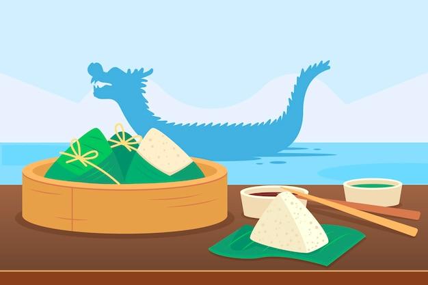 Зонгзи фон лодка дракона Бесплатные векторы