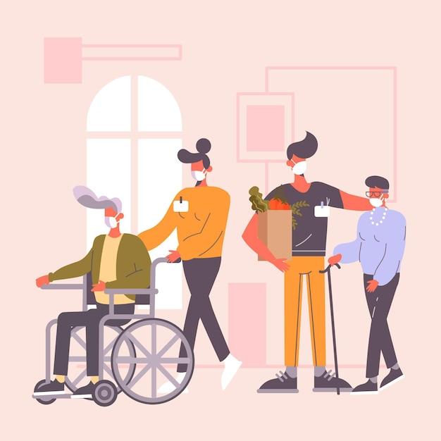 Добровольцы помогают пожилым людям Бесплатные векторы