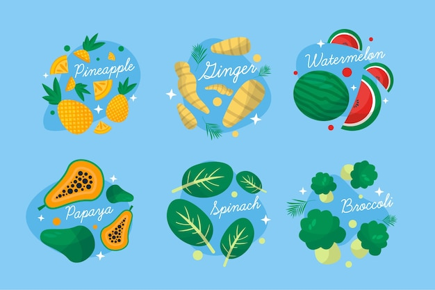 Усилители иммунной системы с овощами и фруктами Бесплатные векторы