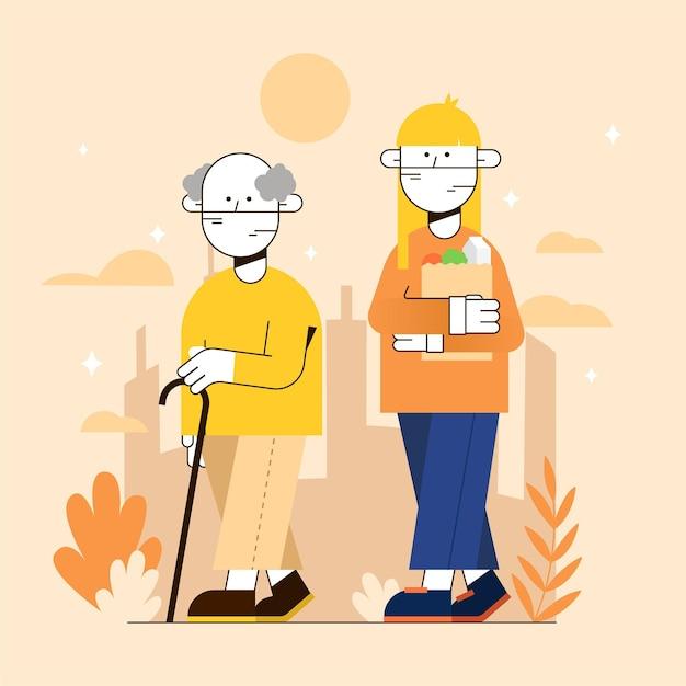Волонтер помогает пожилым людям на улице Бесплатные векторы