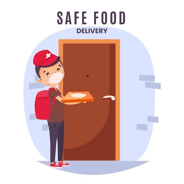 安全な食品配達のコンセプト 無料ベクター