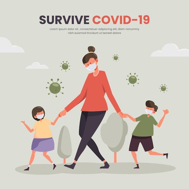 Мать гуляет с детьми концепции Бесплатные векторы