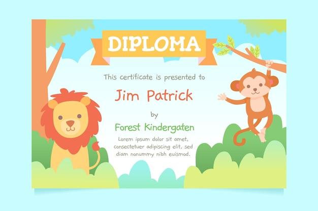 子供のための卒業証書のデザインテンプレート 無料ベクター