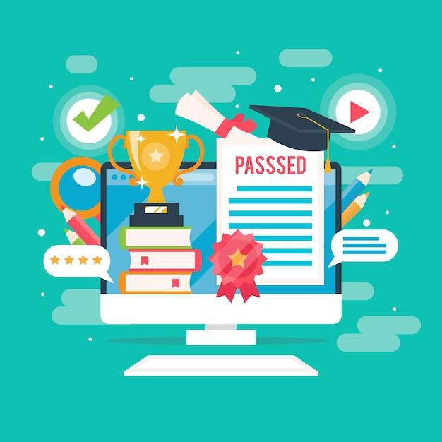 すべての試験オンライン認定に合格 無料ベクター