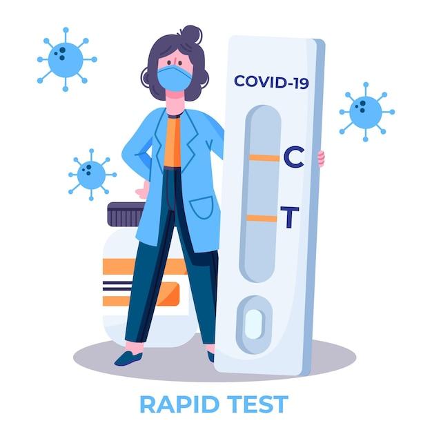 Тип теста на коронавирус с врачом Бесплатные векторы